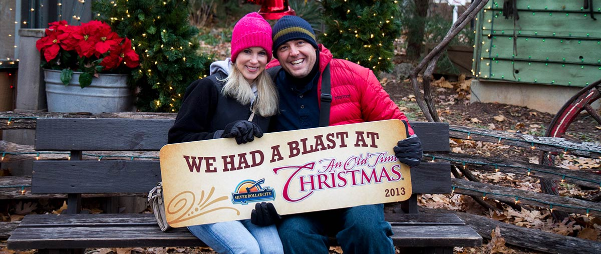 Alissa and Jeremy Christmas at Silver Dollar City