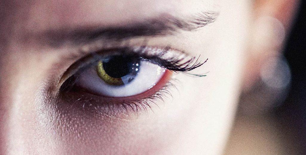 close-up woman's eye