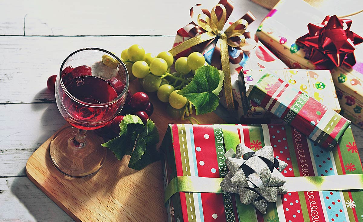 Christmas gifts and wine